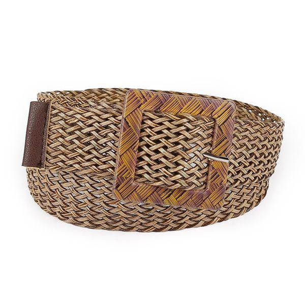 Hollow Straw Shape Hand Woven Women Belt Decoration Fashion Vintage Round Buckle Dress Accessories Waistband Belts