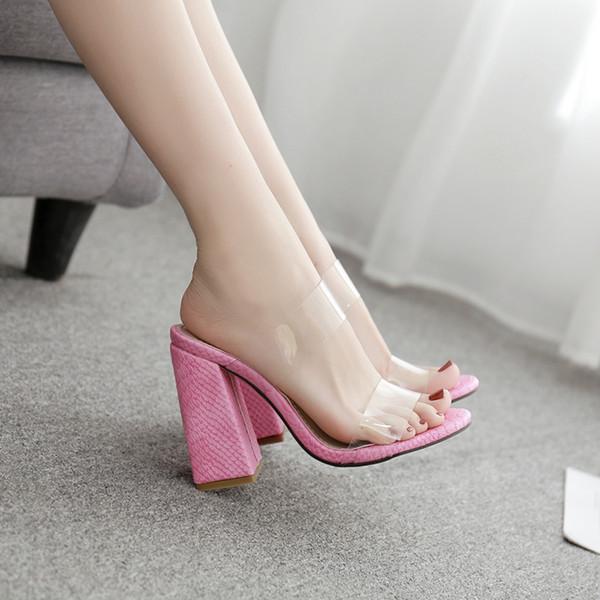 Большой размер женская обувь на шлепанцах Платформа Прозрачный Розовый пляжные тапочки для женщин Jelly Shoes Модные Гладиаторские Сандалии YMA844