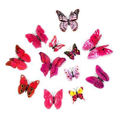 12pcs 3D Kelebek Duvar Etiketler PVC Simülasyon Renkli Kelebek Çıkarılabilir Duvar Çıkartma dolabı Mıknatıslar Sanat Çıkartmaları Çocuk Odası Ev Dekorasyonu