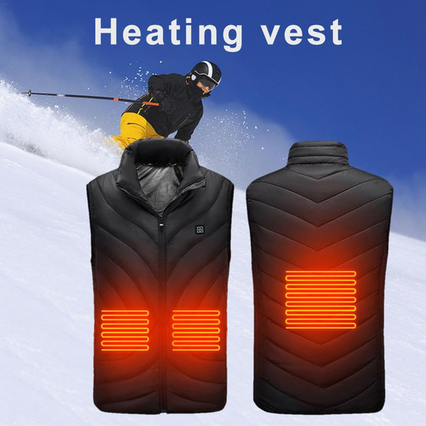heating vest usb heating smart electric vest warm suit with three levels temperature control for winter hiking, Gray;blue