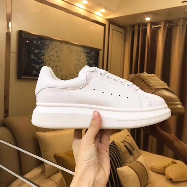 Luxury Designer Men and Women Sneakers Cheap Best Top Quality Fashion White Leather Platform Shoes Flat Casual Party Wedding Shoes With Box