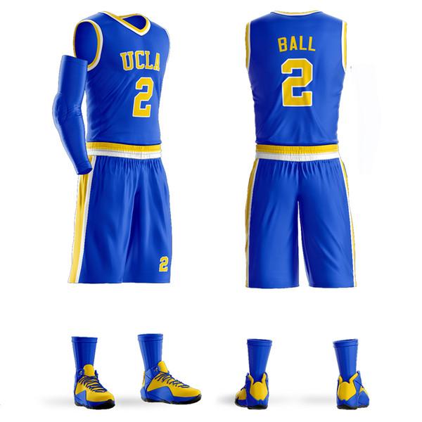 Personnalisé Basketball Uniforme Lonzo Ball # 2 College Jersey Maillots Set Respirant Étudiants Sports chemises shorts DIY Personnalisé
