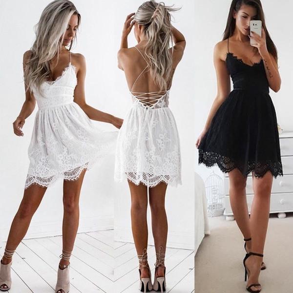 Elegant Women's Sleeveless Short Mini Dresses V-neck Lace Backless Dinner Beach Party Evening Dress Prom Dresses Party Dress