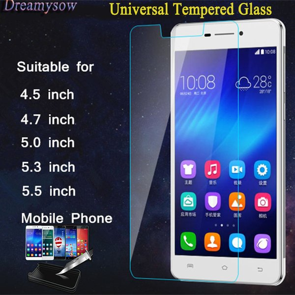 2.5D 0.3mm Universal Titanium Tempered Glass Film for 4.5 4.7 5.0 5.3 5.5 4.0 6.0 3.5 4.3 5.7 inch Mobile Phone Screen Protector