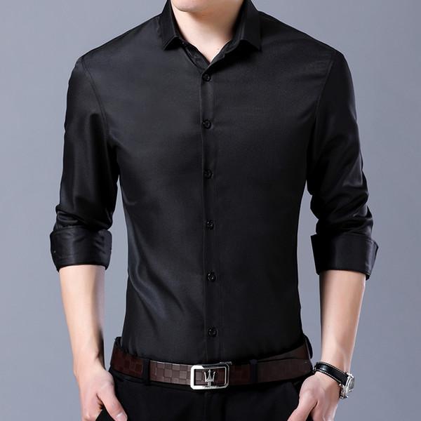 Gömlek Erkekler 2019 Yeni Katı Moda Iş Uzun Kollu Elbise Gömlek Rahat Rahat Slim Fit Camisa Masculina Chemise Homme