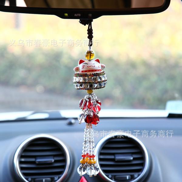 Pendentif de voiture chanceux chat voiture suspendue garniture intérieure fournitures créative mode bijoux bricolage en gros