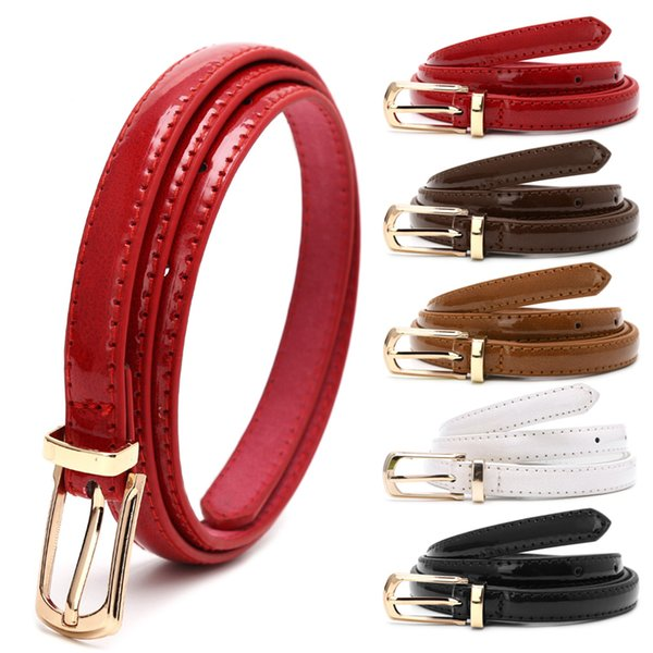 ae12e0c2f Candy Color Metal Buckle Thin Casual Belt For Women , Leather Belt Female Straps  Waistband For