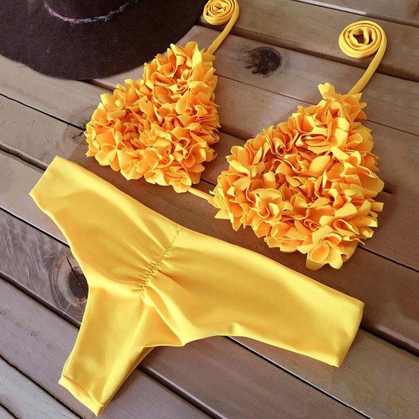 Sexy 3d Flower Ruffled Bikini 2019 Bandeau Swimsuit Women Brazilian Swimwear Female Two Pieces Bikini Set Halter Bathing Suit Y19072701