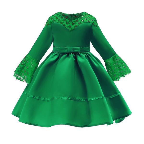 Retail Baby Muslim flower girl dress Lace bow Lantern Sleeve princess dress Children party formal prom dresses designer boutique clothes