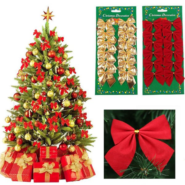 Pack Bowknot Christmas Tree Decorations