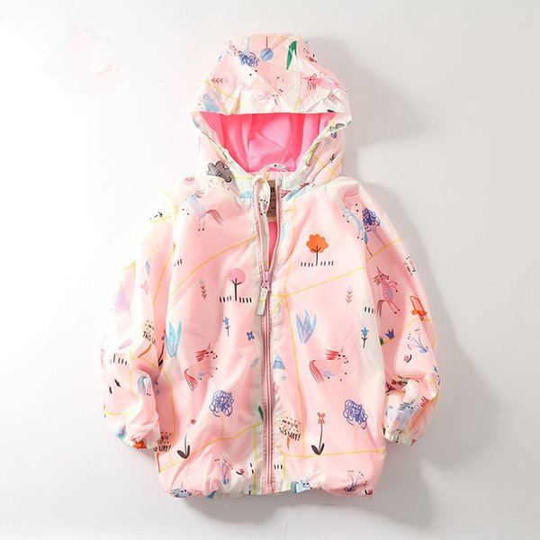 Kids Jacket 2019 Spring Little Girls Clothing Fashion Girl Print Jacket Hooded Baby G Coat High-grade Children Clothes