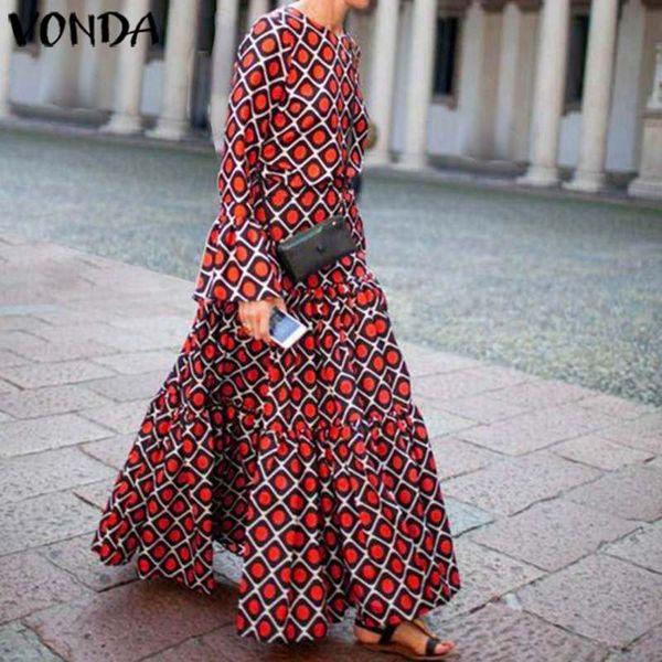 VONDA Womnen Autumn Long Sleeve Printed Floral Vintage Flare Long Shirt Dress