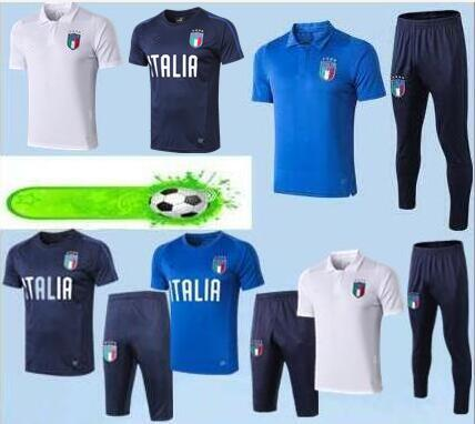 Polo maillot de foot Italie 2019 3/4 Kits de maillot de foot CANDREVA CHIELLINI EL SHAARAWY 19/20 BONUCCI INSIGNE Polo de football chandal