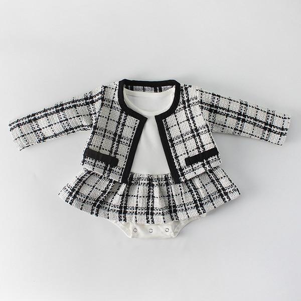 Frühlingsanzug 0-2 Jahre altes weibliches Baby schwarz und weiß kleinen Duft Prinzessin Temperament Damen Langarm Shirt Rock