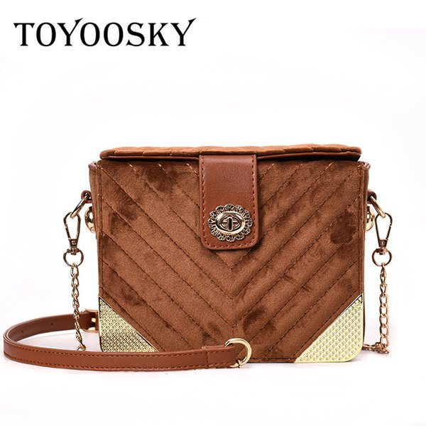 TOYOOSKY Brand Box Shaped Handbag Velvet Women Shoulder Bags Pochette Sac Femme Velour Square Bags Female Chain Crossbody