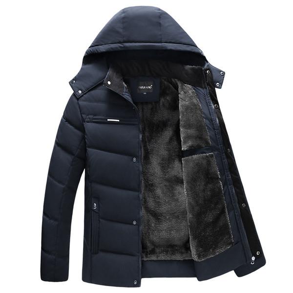 Los hombres parka abrigos de invierno 2019 de la chaqueta con capucha Espesar Ropa Hombres impermeables Outwear Coat Padres calientes hombres ocasionales Abrigo T191217