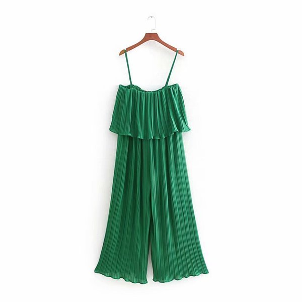 2019 Women High Street Solid Color Ruffles Pleated Sling Jumpsuits Ladies Wide Leg Pants Casual Slim Chiffon Green Rompers P285 Y19060501