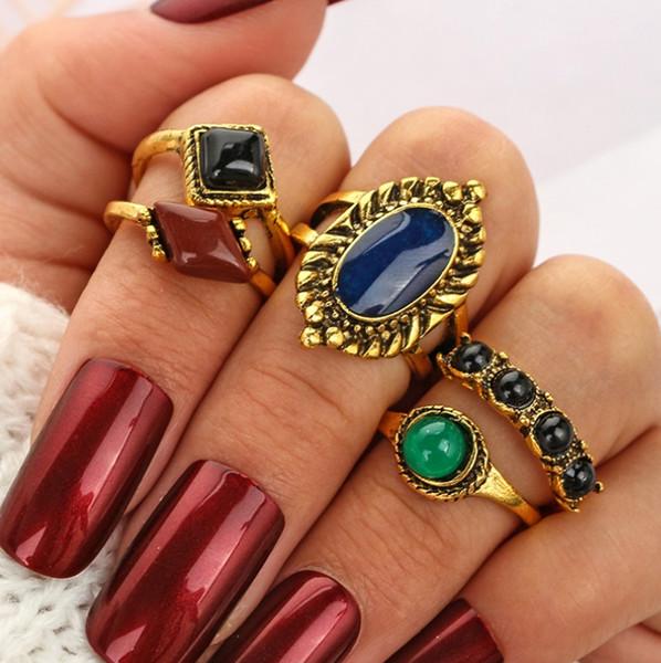 5pcs/set Women Retro Bohemian Finger Rings Boho Color Gem Stone Midi Knuckle Ring Set