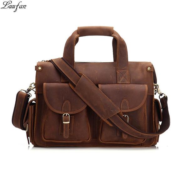 "Vintage Men's Briefcase Genuine Cowhide Leather 16"" PC Laptop Bag Crazy Horse Leather Business Messenger Bag Work Tote for man #639041"