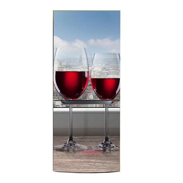 Venta al por mayor Copas de copas de vino Imágenes Autoadhesivo Lavaplatos Refrigerador Congelación Etiqueta Arte para niños Nevera Puerta Cubierta Papel tapiz