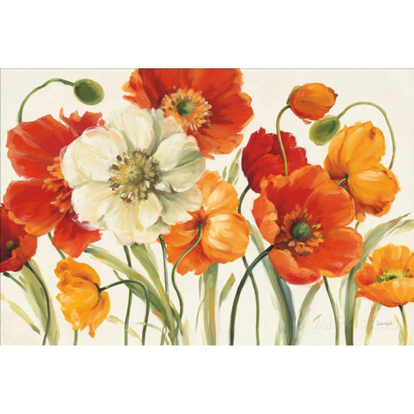Hand painted Shirley Novak paintings Poppies Melody I flower artwork for wall decor