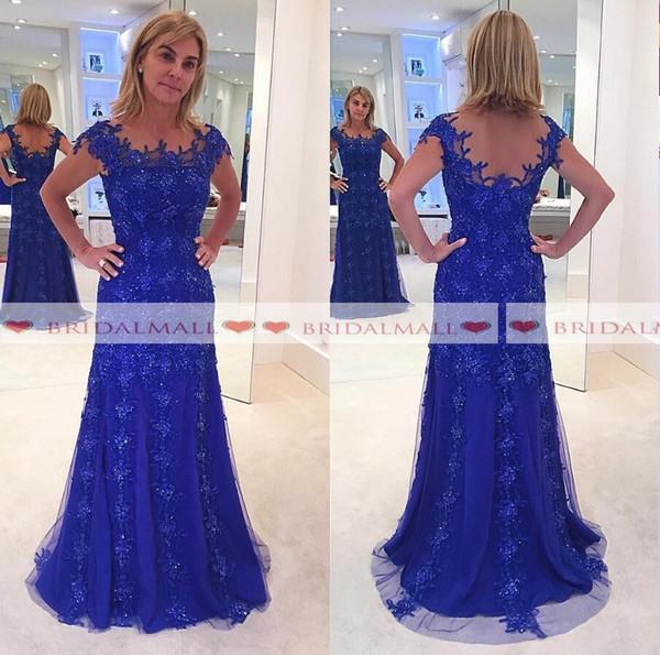 Sexy Perlen Pailletten Blau Tüll Mutter der Braut Kleider Plus Größe 2019 Elegante Applique Spitze Formale Abendkleid