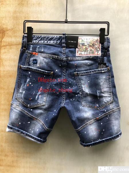 2019 Fashion Style Sommer Herren Denim Short Coolguy Jean Stickerei D2 Hosen Löcher Jeans Button Herren Hosen D96DS