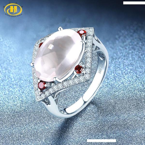 Hutang Engagement Quartz Rose Bague Argent massif 925 sterling pierre naturelle grenat Topaze fine de bijoux à la mode pour Noël