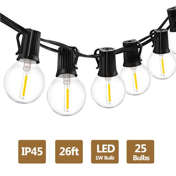 G40 1W LED String Lights E12 26Ft LED Globos Bombillas Blanco cálido 2700K Impermeable al aire libre para Patio Jardín Patio trasero Decoraciones de la boda del partido