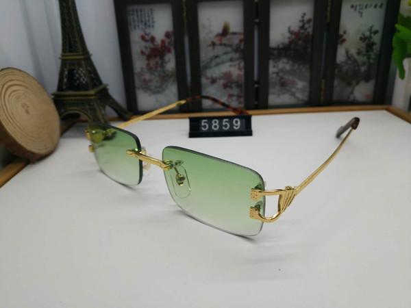 2019 fashion sunglasses Sunglasses for men and women Lenses Gradient Rimless top brand brand designer buffalo horn glasses sunglasses