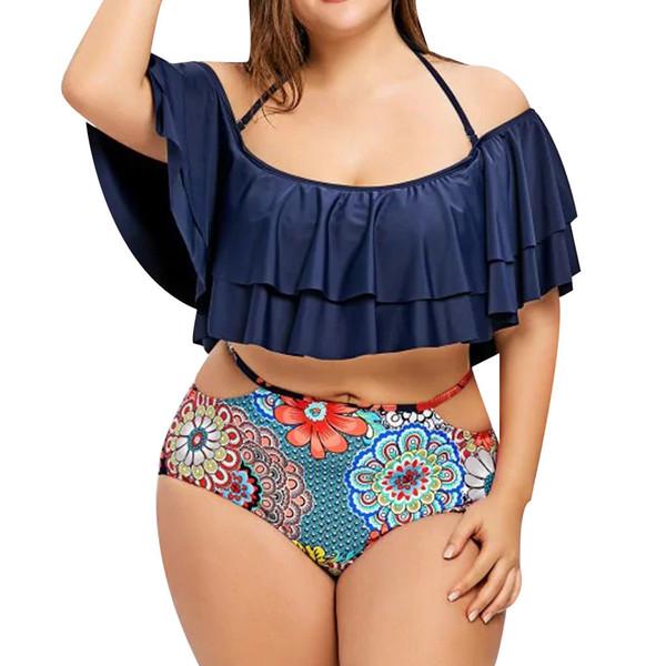 Traje de baño Mujer Traje de baño con estampado boho sexy Bikini Ruffle Sujetador de baño Ropa de playa Traje de baño de dos piezas Traje de baño sin vendaje