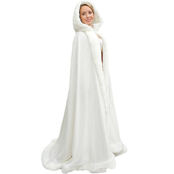 New Elegant White Ivory 2019 Warm Bridal Cape Winter Fur Women Jacket Bridal Cloaks Long Party Wedding Coat With Hat AL04