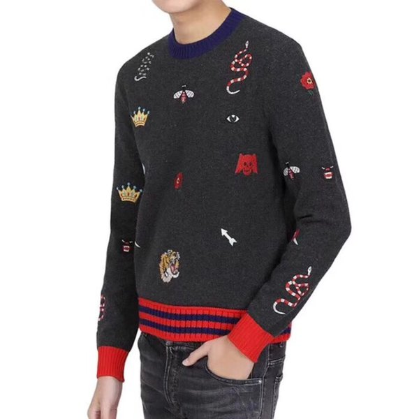 Mens GC Woolen Sweaters Winter Autumn Fashion Bottoming Sweaters Heavy-duty Embroidered O-neck Long Sleeved Knitted Sweatshirts
