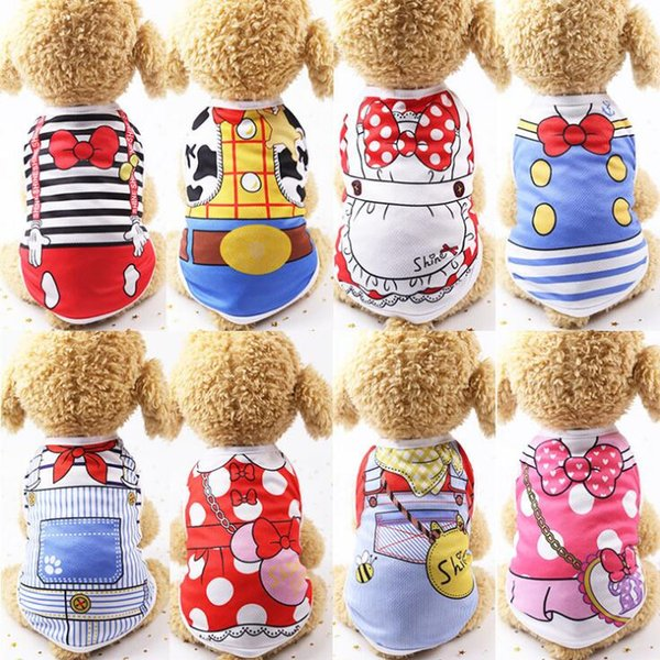 6 Size Dog Costume Cotton Pet Clothes 12 Designs Teddy Bichon Waistcoat Breathable Mesh Dog Apparel Pet Supplies For Spring Summer