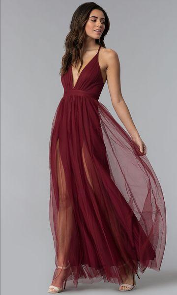 V-образным вырезом длинное платье с регулируемыми ремнями Тулл выпускные платья 2019 CMPD13