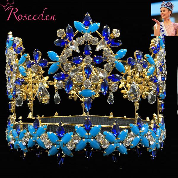 Baroque Full Round Miss World Crown Tiara With Blue Crystal Rhinestones Princess Queen Tiara Re3021 C19022201