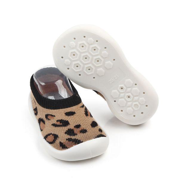 Unisex Bebek Pamuk Çorap Kat Çorap Çocuk Çocuk Leopar Baskı kaymaz Kauçuk Ayakkabı Toddler Çorap Ayakkabı Toptan