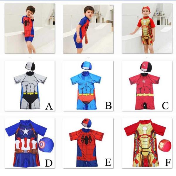 Maillot de bain bébé enfants Avengers 4 super-héros pour bébé Maillot de bain Marvel Spiderman Iron Man Captain America Maillot de bain une pièce avec bonnet C21