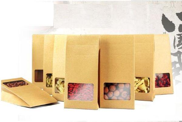 10 * 23,5 * 5см крафт-бумага Stand Up Gift Bag с квадратными гайками / Чай / Торт / Печенье / Упаковочные пакеты для кофе
