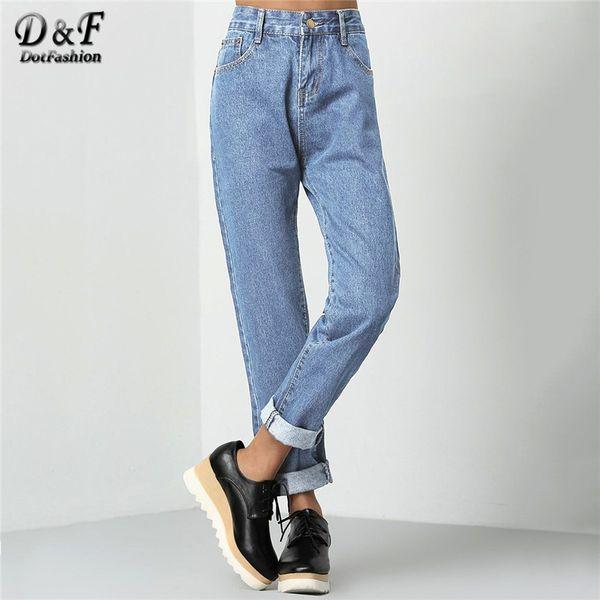 Jeans boyfriend con polsini Dotfashion Blue Roll Donna 2019 Pantaloni casual corti a vita alta con gamba dritta color jeans Streetwear