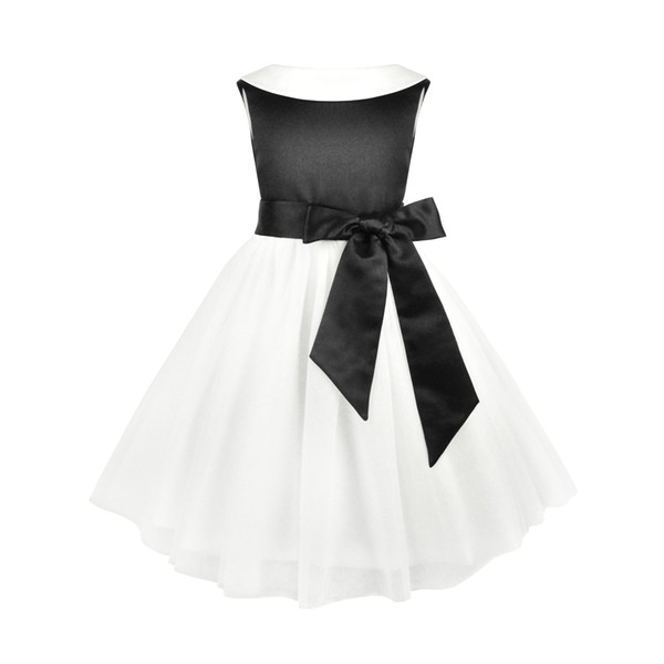 BlackWhite Flower Girl Dresses Princess Une ligne sans manches enfants Toddler Dress avec Sash H0076