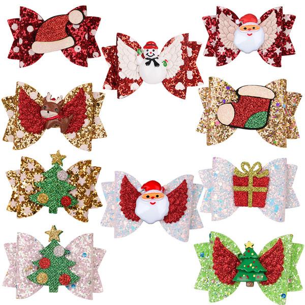 Bambini Barrettes bambino tornante Bowknot Christmas Glitter Barrettes Xmas Tree Xmas cappello di Babbo paillettes Stampa regalo Accessori per capelli LJJA3492-22