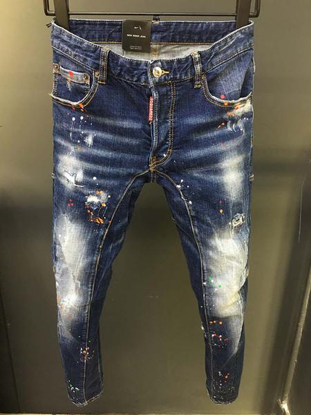 Avrupa istasyonu ağır zanaat boya noktası gelgit marka kot erkek eğilim deliği ince ayak pantolon kişilik erkek pantolon dikiş