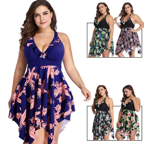Sexy Print Plus Size Skirt Swimwear Women Two Piece Push Up Swimsuit Beachwear Bathing Suit Dress Large Bust Monokini 2xl~6xl Y19072501