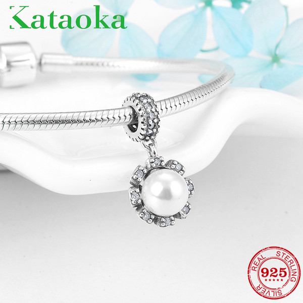 925 Sterling Silver Like sunflower with Snow-white Pearl Charms Pendants Fit Original Pandora Charm Bracelet Jewelry making