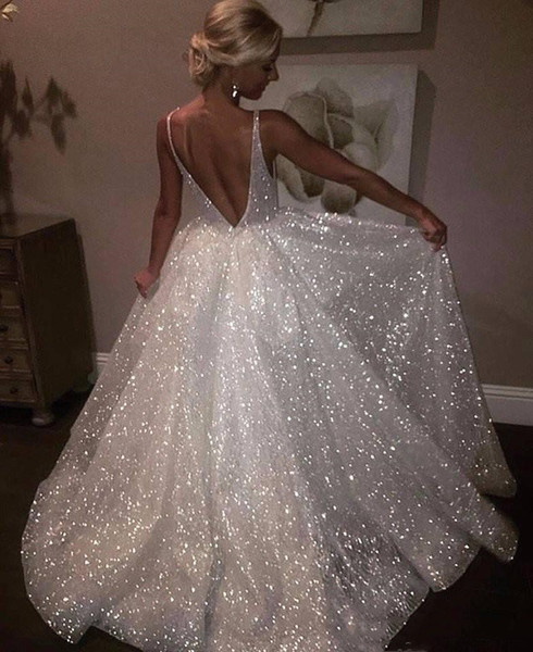 top popular White Sparkle Sequin Evening Dresses Deep V Neck Sexy Low Back Long Prom Dress Cheap Pageant Gowns Special Occasion Wear Cocktail Party Gown 2020