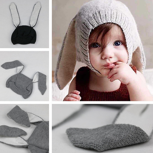 Carino orecchie di coniglio di bambino berretto da neonato inverno caldo cappello lavorato a maglia coniglietto puntelli fotografia per bambini puntelli cappello da viaggio per bambini TTA1467