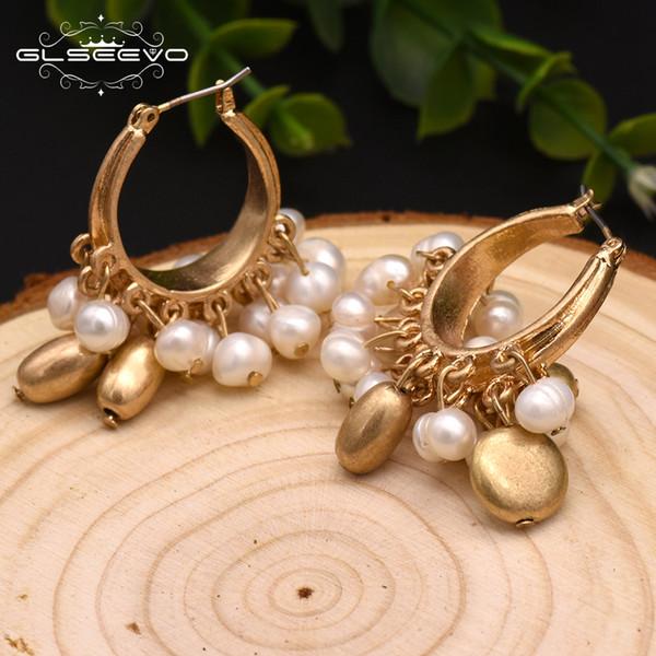 GLSEEVO main naturelle Perle D'eau Douce Goutte Boucles d'oreilles pour les femmes Party Tassel Boucles d'oreilles haute joaillerie de luxe GE0305