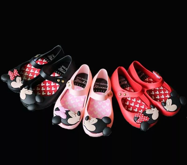 ce5391bb30be Mini Melissa Girls Jelly Sandals 2019 kids sandals jelly shoes Satin bow PVC  soft outsole children