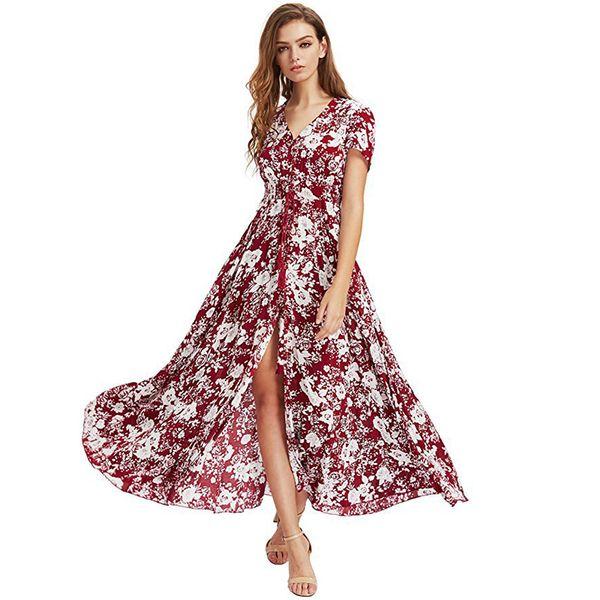 Bohemia stampa floreale lungo abito donna sexy pulsante estivo Boho Maxi abito donna moda vintage abito casual donna 2019 Ldw1026 Y19051001